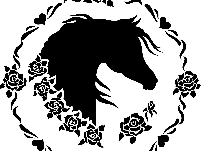 Clipart horse arabian horse. Head sweet roses horses