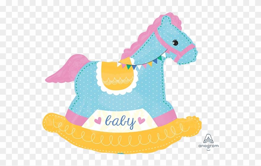 Horses clipart baby shower. Girl rocking horse giant