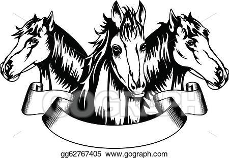 Horses clipart banner. Vector heads illustration