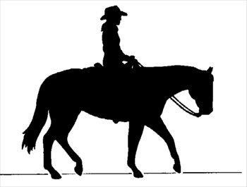 Cowboy on horse silhouette. Horses clipart equestrian