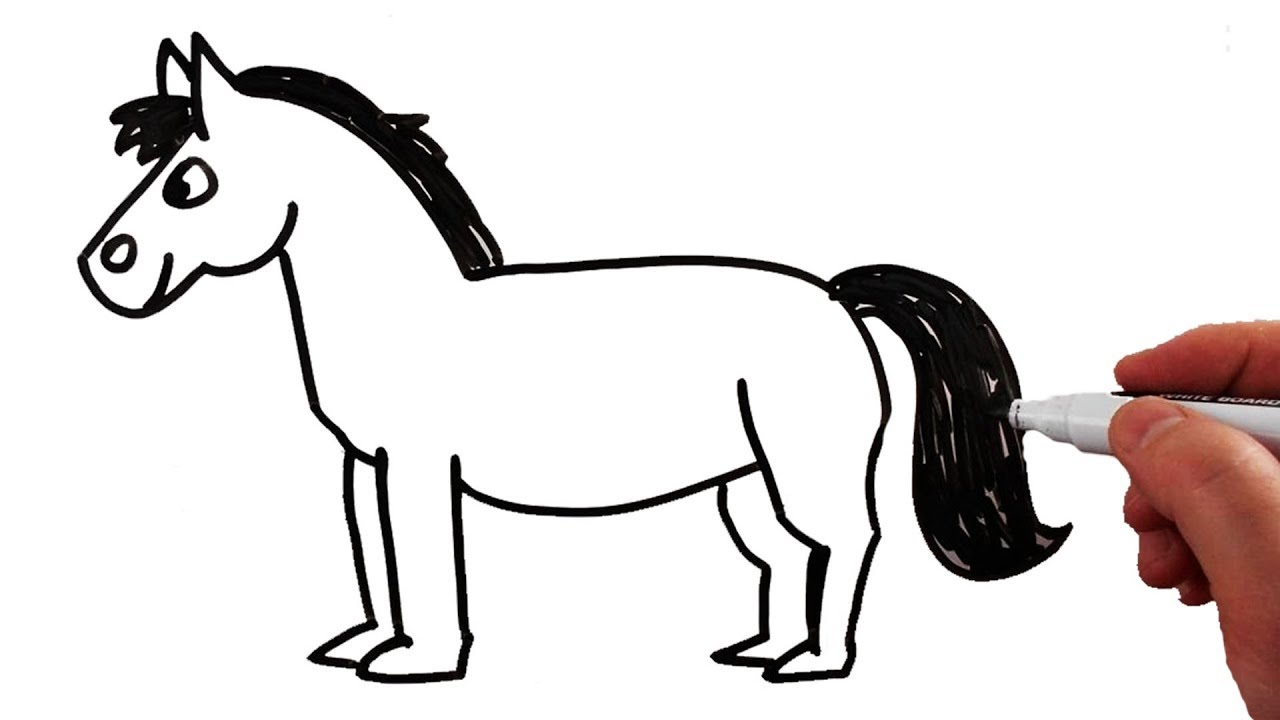 How to draw a. Horse clipart easy