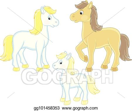 Vector art of drawing. Horses clipart family