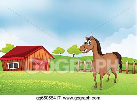 Horse clipart house. Vector art a in