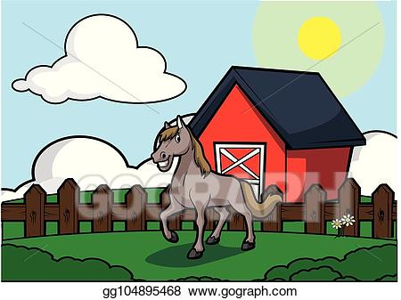 Houses clipart scenery. Vector illustration horse with