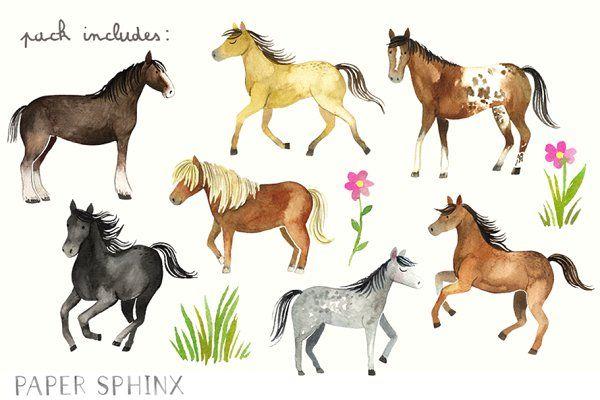Horses clipart pretty horse. Watercolor pack illustrations
