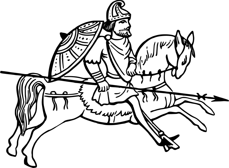 Anglo saxon horseman medium. Clipart horse man