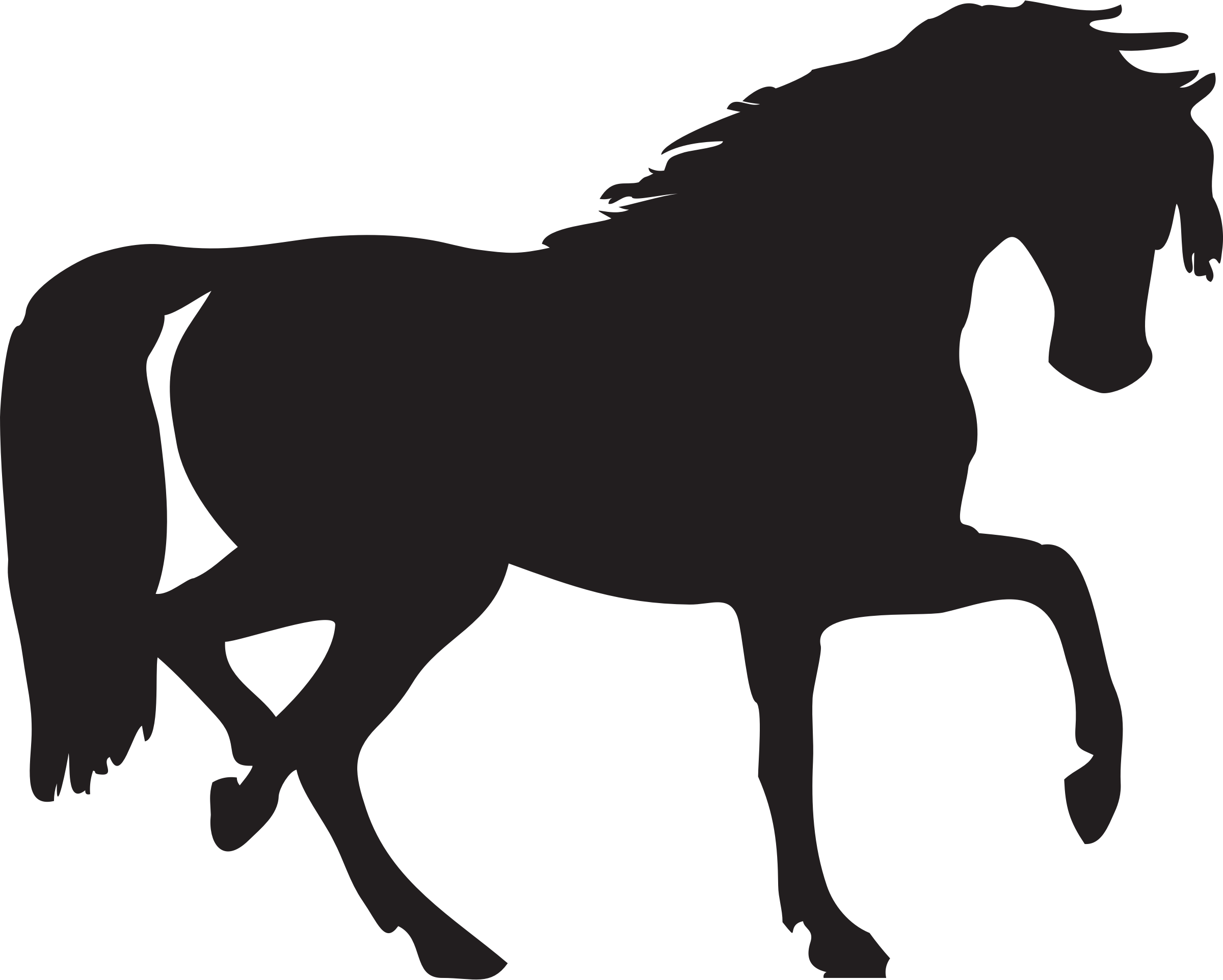 Silhouette of a at. Horseshoe clipart horse camp