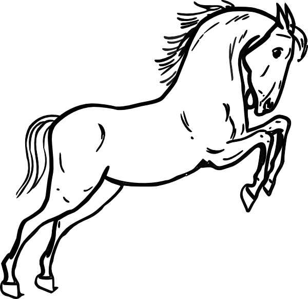Line drawing of at. Clipart horse printable