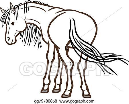 Clipart horse rear. Clip art vector view