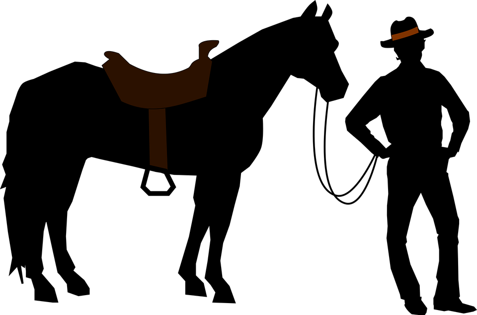 Horse and cowboy silhouette. Dallas cowboys clipart small