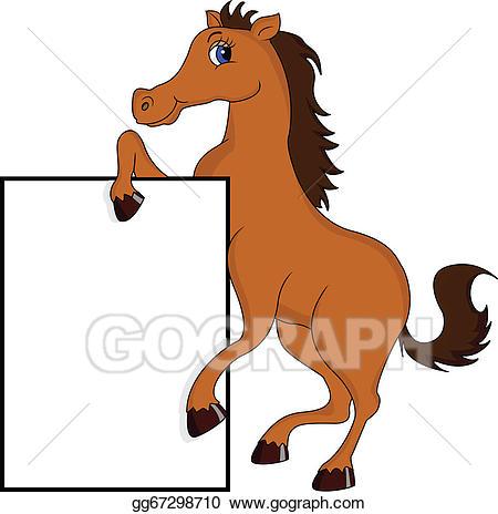 Horse clipart sign. Vector stock cute cartoon