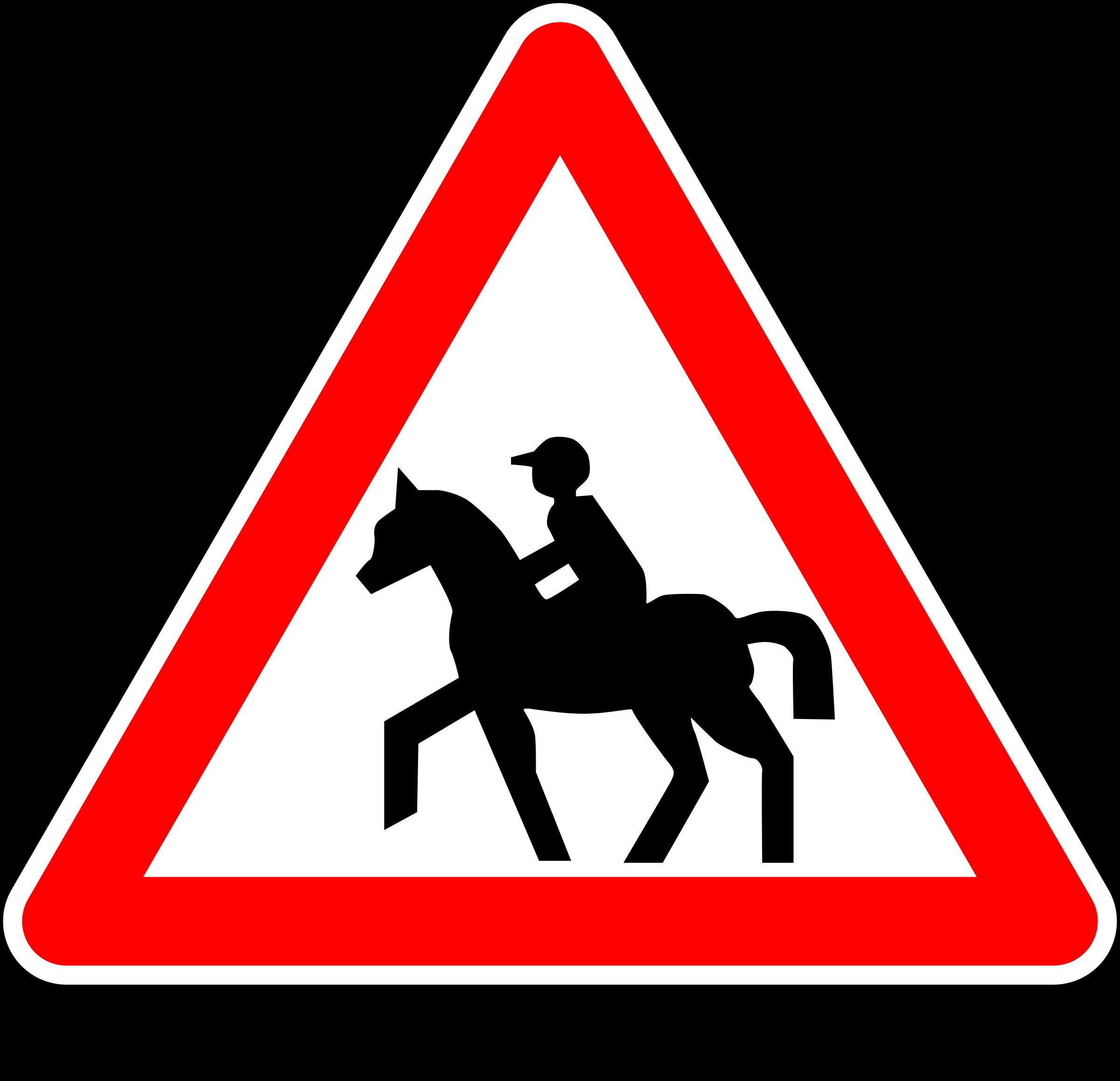 Horse clipart sign. Warning riding big image