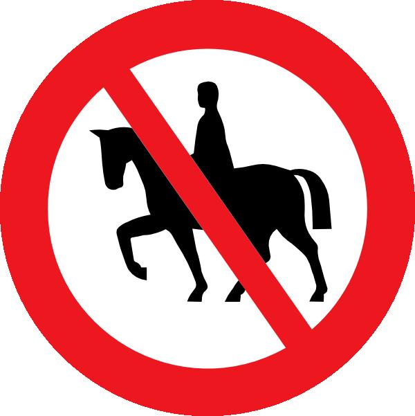 Horse clipart sign. Riding prohibited white bg