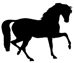 Silhouette mare with foal. Clipart horse simple