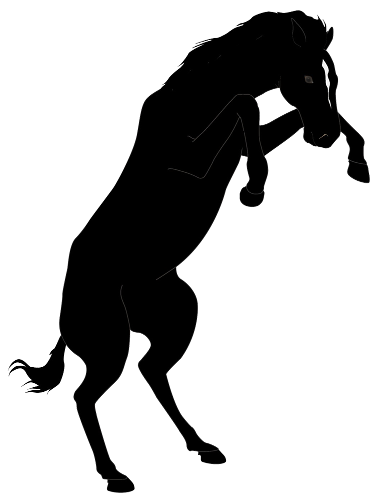 Clipart horse standing. Silhouette and horseman