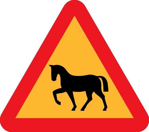 Warning horses road sign. Clipart horse transportation