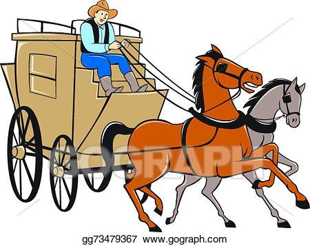 Clipart horse transportation. Vector stagecoach driver cartoon