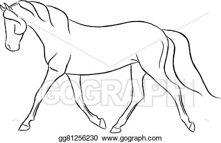 Vector stock trotting illustration. Clipart horse trot
