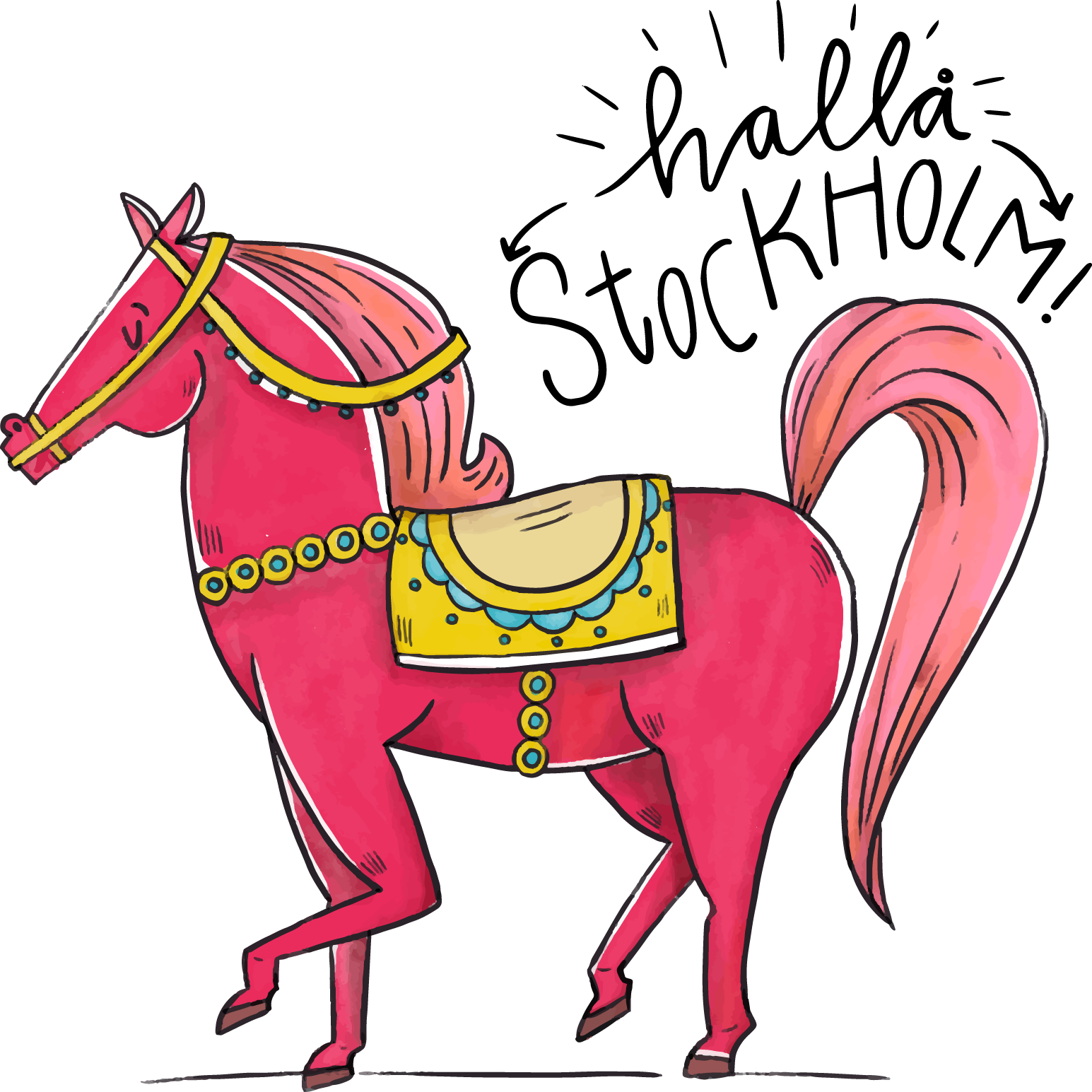 Folklore clip art painted. Clipart horse watercolor