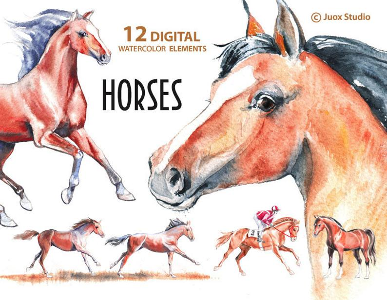 Clipart horse watercolor. Horses painting stickers digital