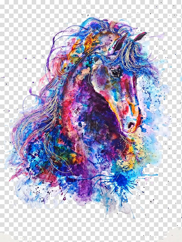 Work of art drawing. Clipart horse watercolor