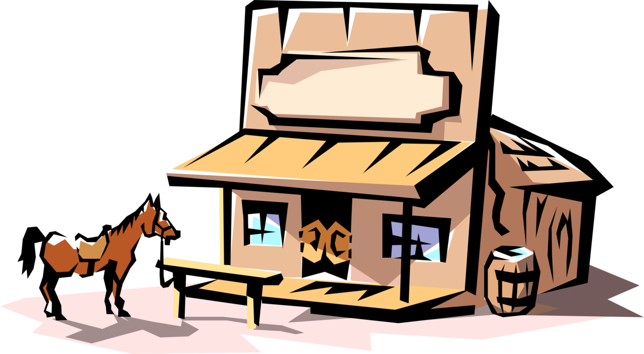 Cowboy clipart wild west. Old saloon with horse