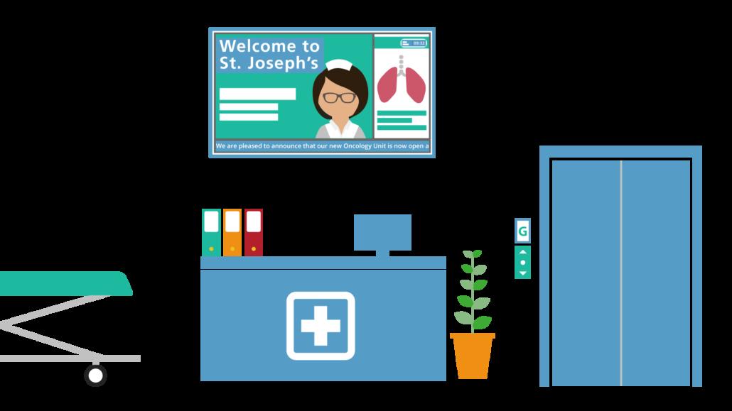 Digital signage for healthcare. Hospital clipart receptionist