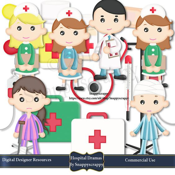 Hospital clipart children's hospital. Doctors nurses set childrens