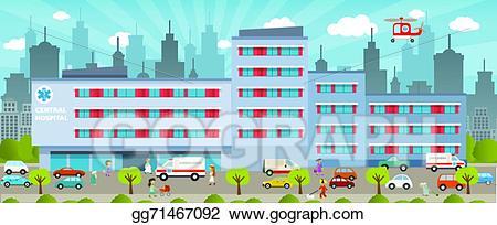 Hospital clipart city hospital. Vector art eps gg