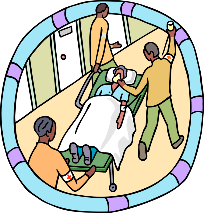 Emergency on stretcher vector. Patient clipart gurney