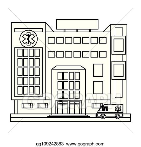 Hospital clipart black and white. Vector building scenery in