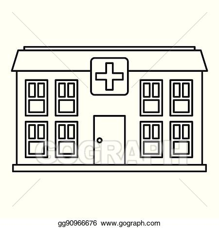 Hospital clipart outline. Vector stock icon style