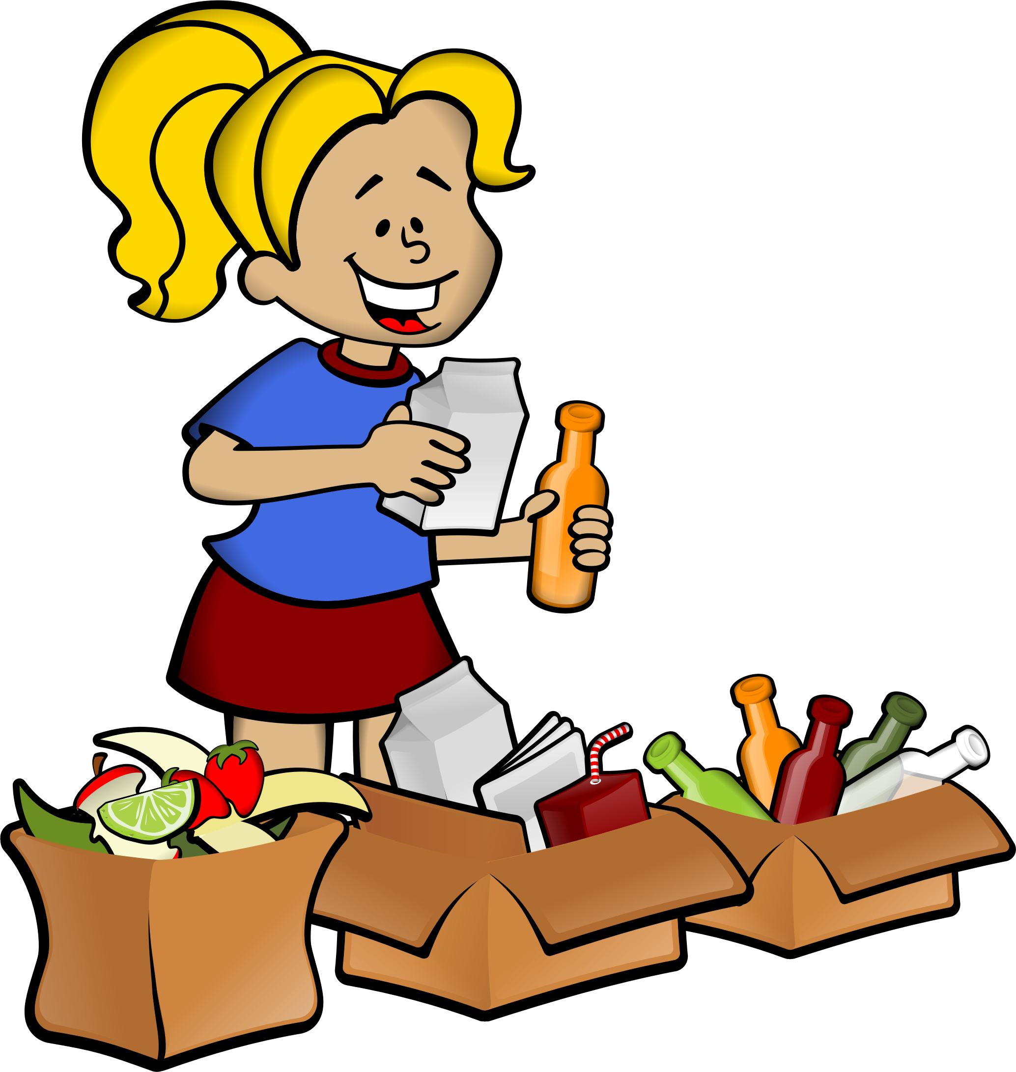 Woman and boxes big. Garbage clipart cartoon