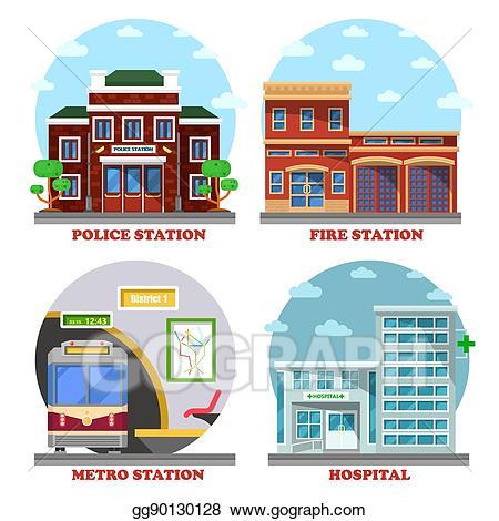 Vector art fire station. Hospital clipart public hospital