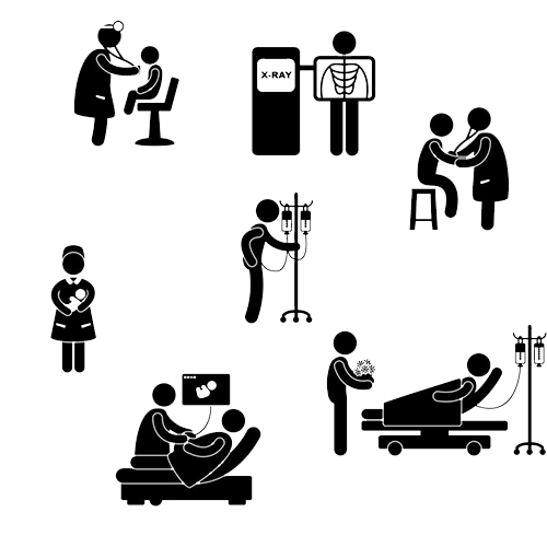 Pictogram medicine physician clinic. Clipart hospital silhouette