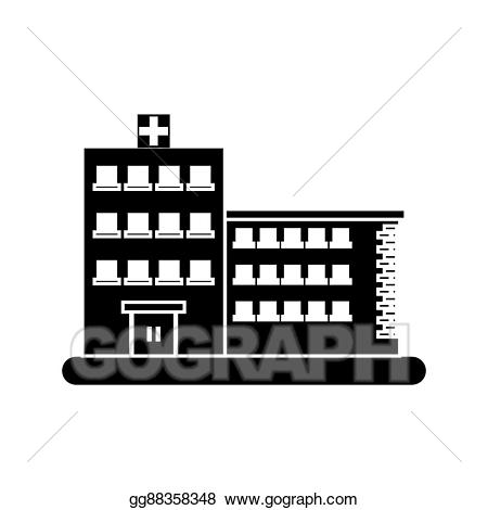 Clipart hospital silhouette. Vector art isolated building