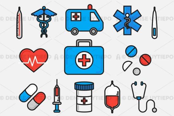 Healthcare hospital set . Medical clipart health