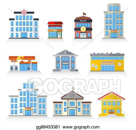 Vector flat fronts illustration. Hospital clipart store building
