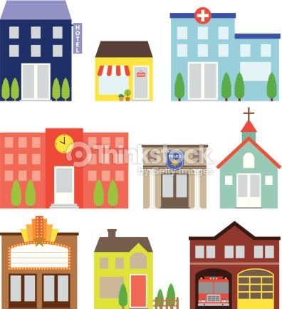 Hospital clipart store building. Vector illustration of buildings