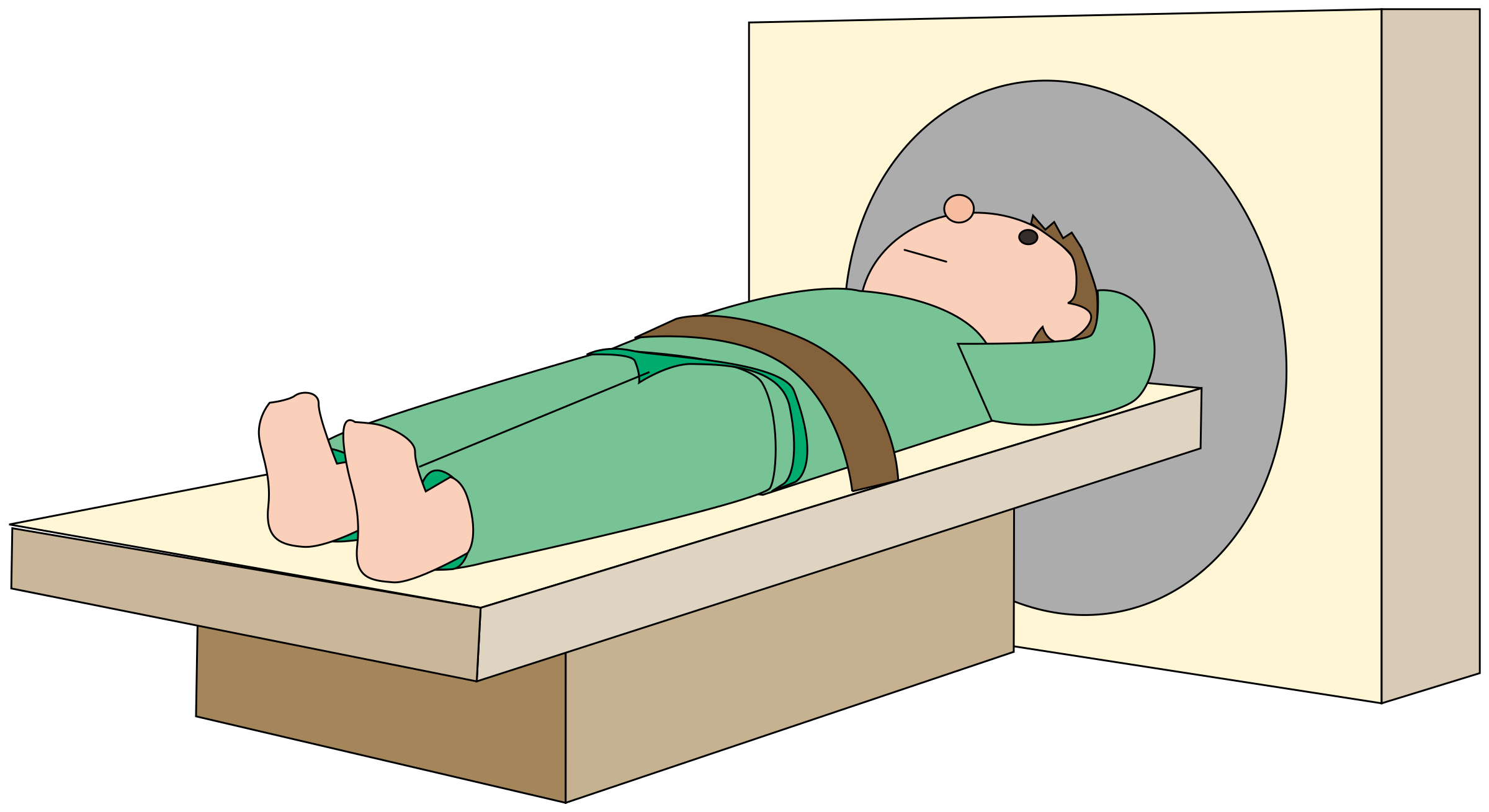 Clipart table hospital. Patient ct scan big