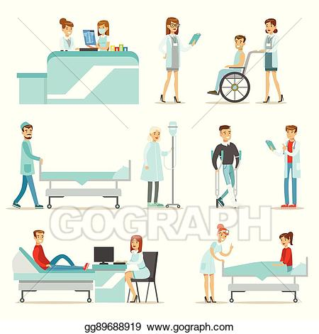 Patient clipart treatment. Vector stock injured and