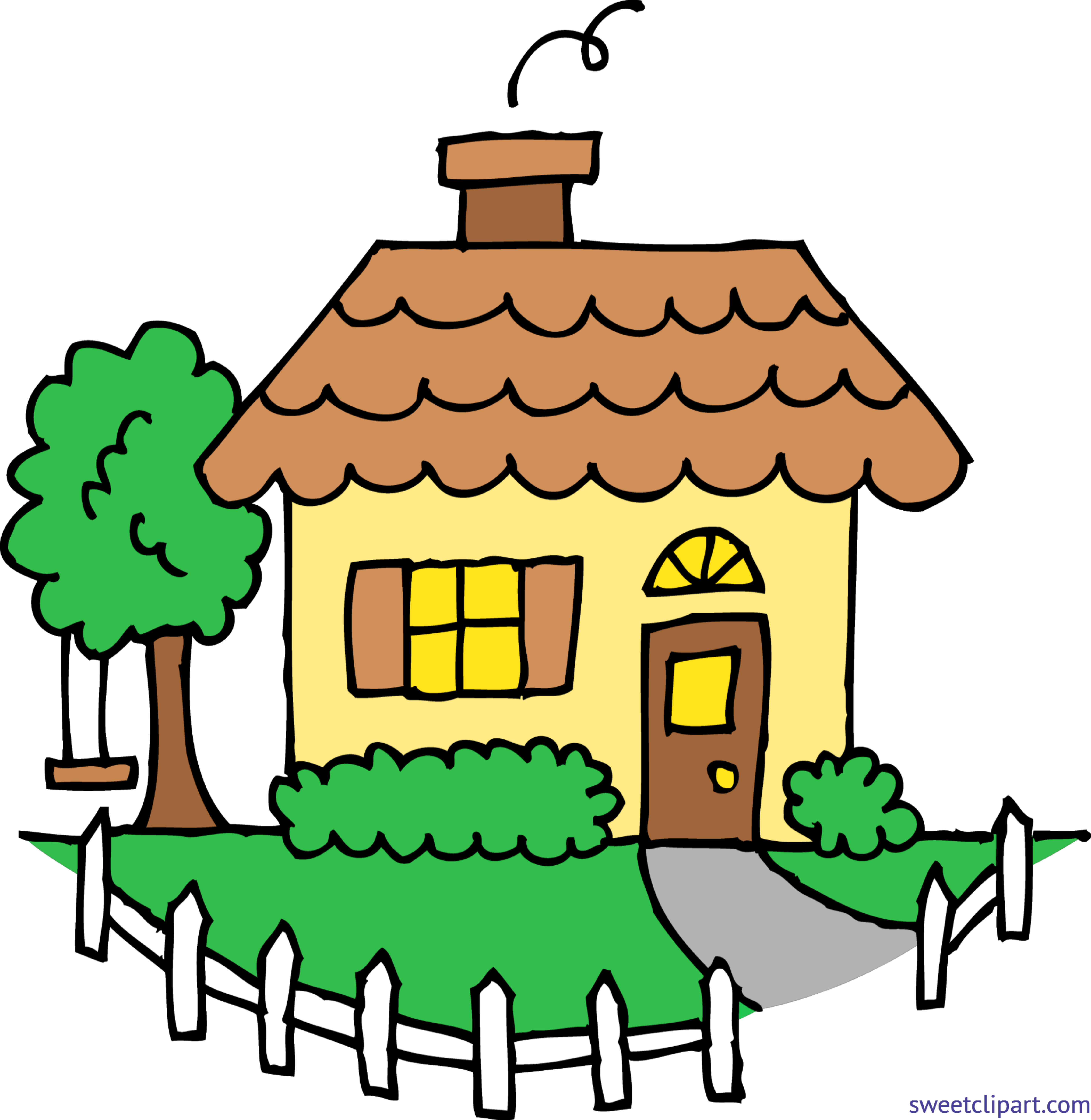 Cute yellow house clip. Mansion clipart drawing