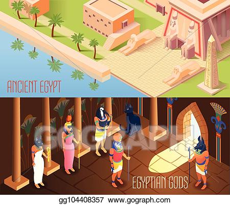 Vector illustration isometric egypt. Houses clipart ancient egyptian