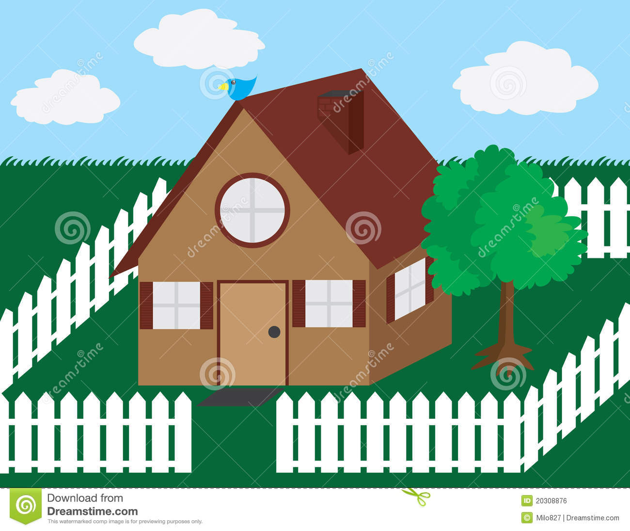 Clipart houses backyard. House with picket fence