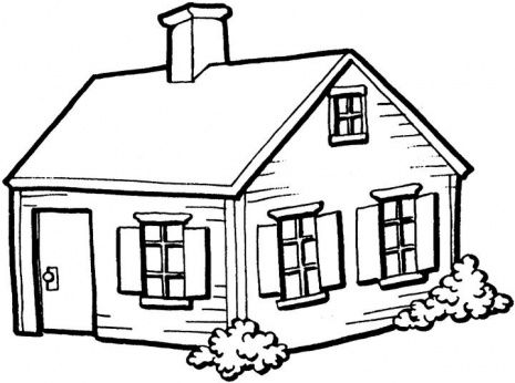 House . Cottage clipart black and white