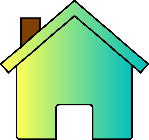 Yellow blue fade house. Houses clipart green