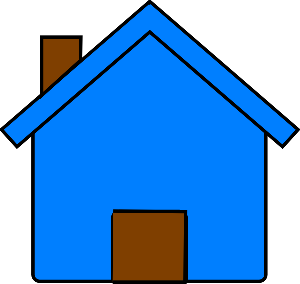 Blue and clip art. Clipart house brown