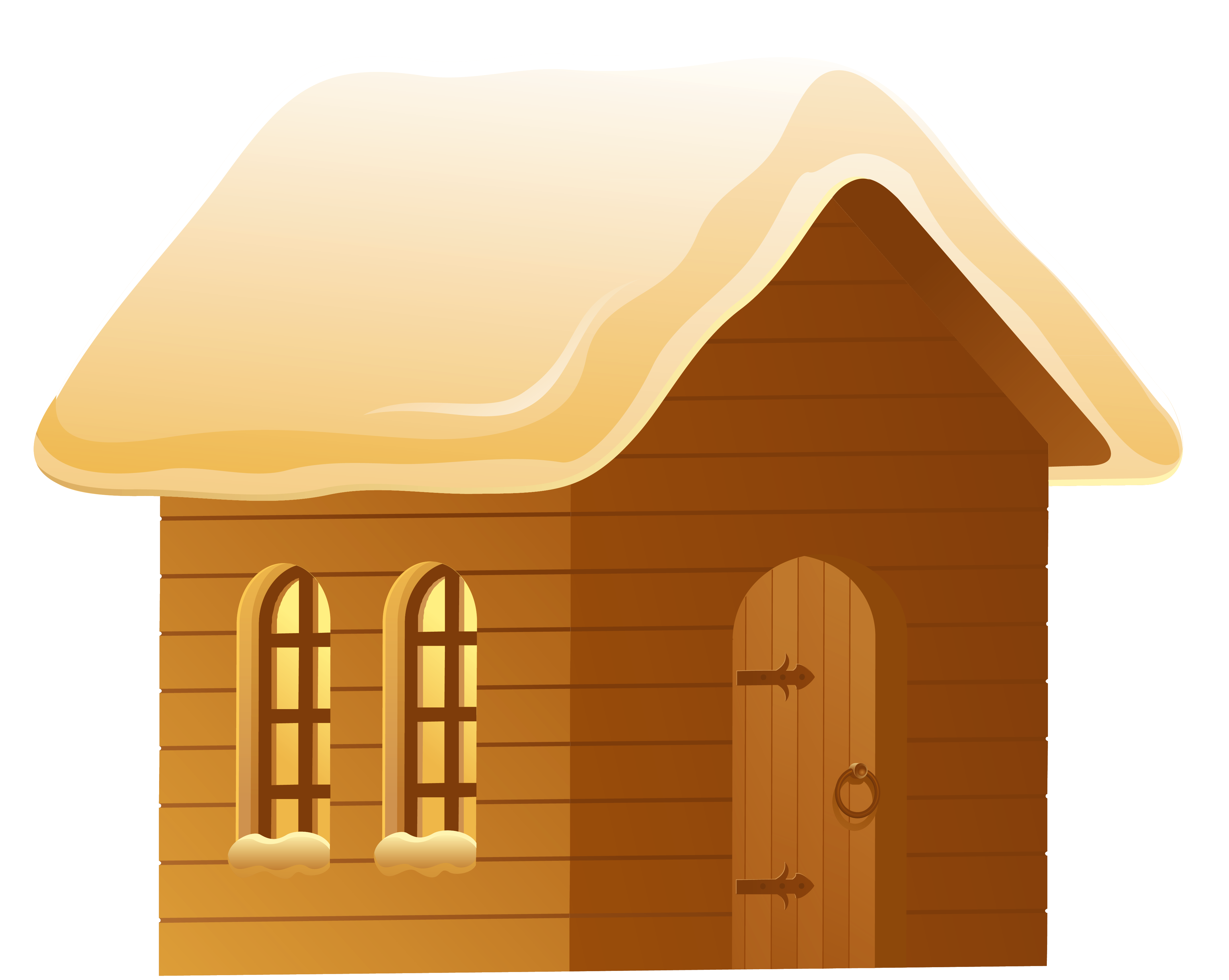 Clipart house brown. Winter snowy png picture