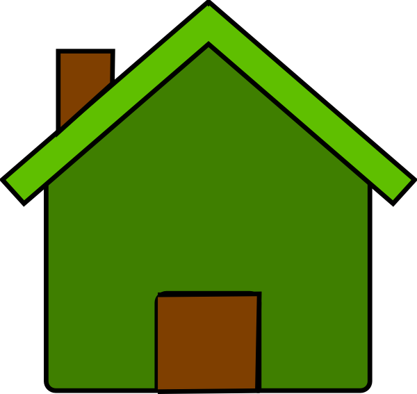 Green and clip art. Clipart house brown