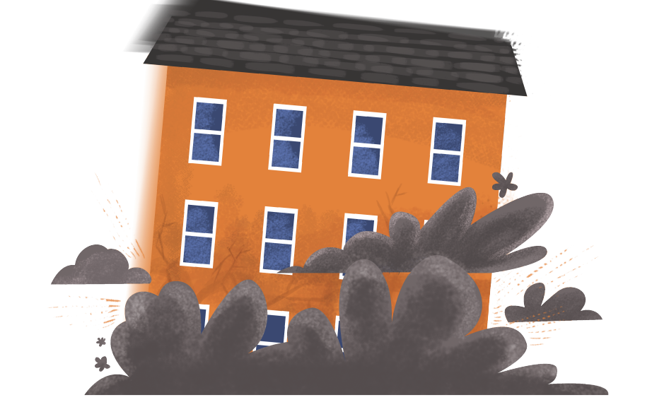 Building insurance and subsidence. Houses clipart collapse